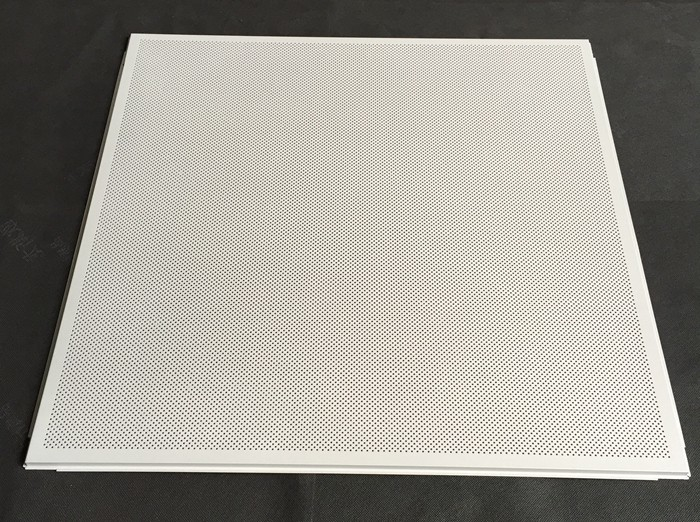Acoustic Fireproof 595 X 595mm Perforated Metal Ceiling Tiles With White Color