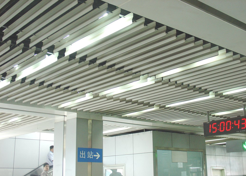 Fashion Plug-in Blade Aluminium Baffle Ceiling J Shaped For Metro